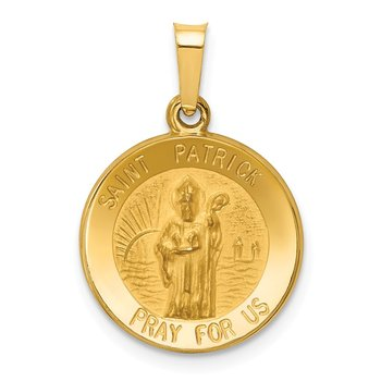 14k Polished and Satin St. Patrick Medal Pendant