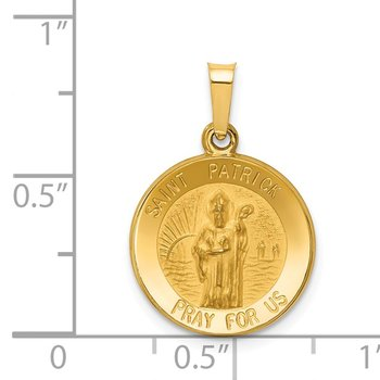 14k Polished and Satin St Patrick Medal Hollow Pendant