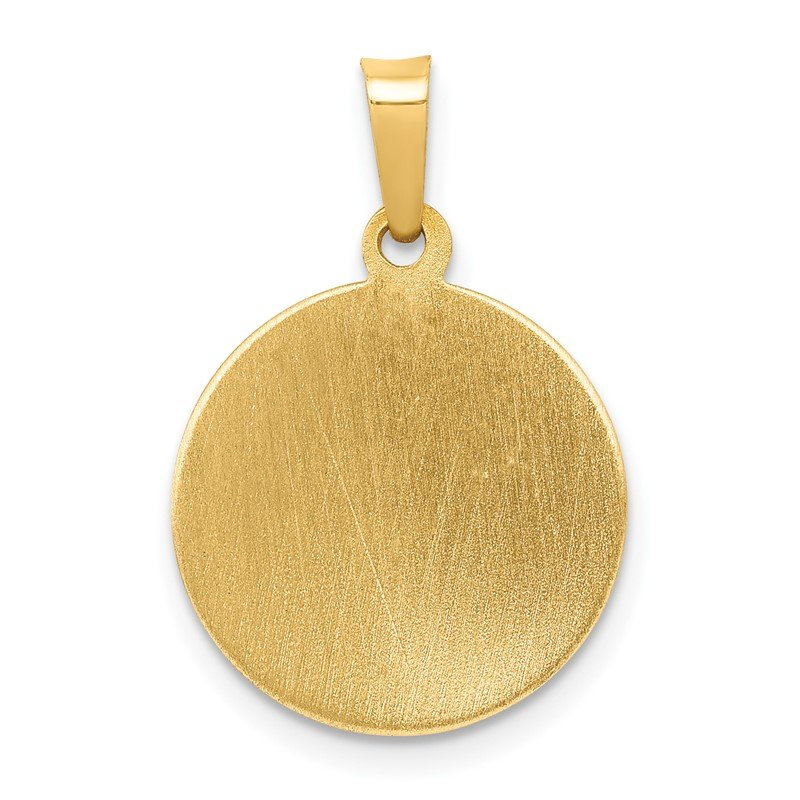Quality Gold 14k Polished and Satin St Patrick Medal Hollow Pendant