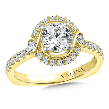 Halo Engagement Ring Mounting in 14K Yellow Gold (.41 ct. tw.)