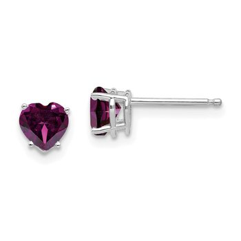 14k White Gold 5mm Heart Rhodolite Garnet Earrings