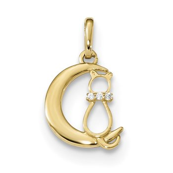 14k Childrens CZ Cat and Moon Pendant