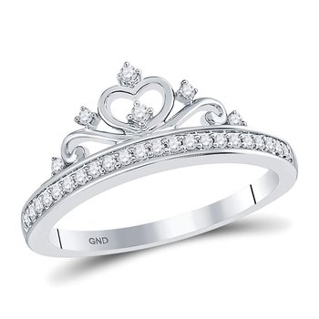 10kt White Gold Womens Round Diamond Crown Tiara Fashion Ring 1/6 Cttw