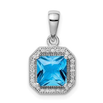 Sterling Silver Rhodium Plated Blue and Clear CZ Pendant