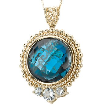 14ky Blue Topaz and Aqua Pendant