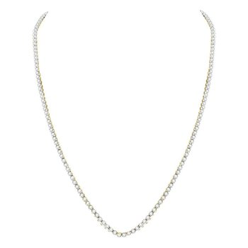 "10kt Yellow Gold Mens Round Diamond Solitaire Linked 24"" Necklace 11.00 Cttw"