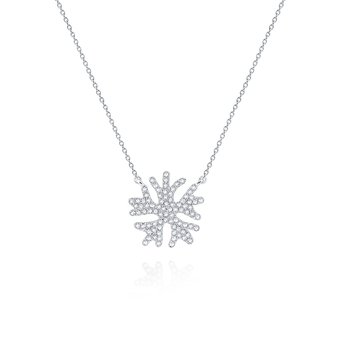 Diamond Snowflake Pendant Necklace Set in 14 Kt. Gold