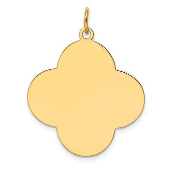 14k Plain .027 Gauge Engravable Quadrafoil Disc Charm