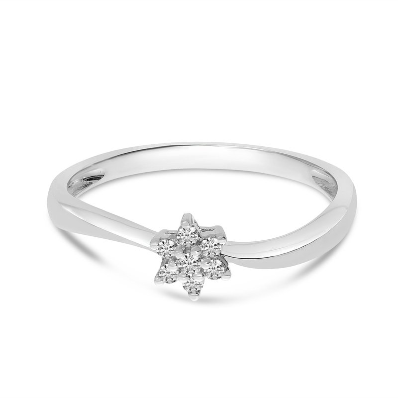 Color Merchants 14K White Gold Diamond Cluster Ring