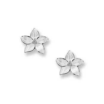 Small White Stephanotis Stud Earrings.Sterling Silver-White Sapphires