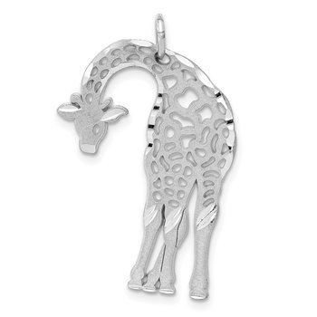 14k White Gold Solid Satin Diamond-cut Flat-Backed Giraffe Charm