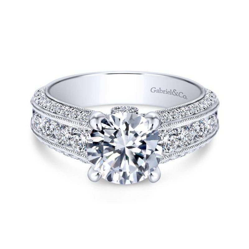Gabriel Bridal Vintage 14K White Gold Round Wide Band Diamond Engagement Ring