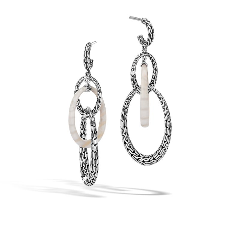 JOHN HARDY Classic Chain Drop Earring in Silver with Gemstone