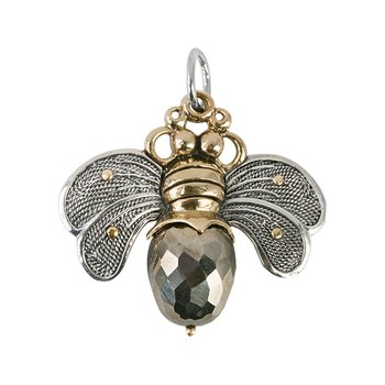 Bee Brave Pendant - Sterling Silver, Brass & Pyrite