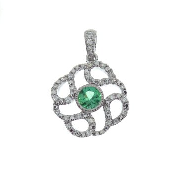 14k White Gold Emerald Diamond Circle Pendant