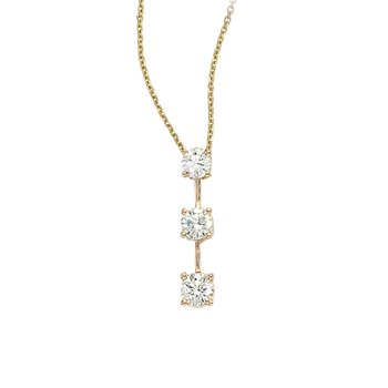 14k Yellow Gold 3 Stone Diamond Drop Pendant