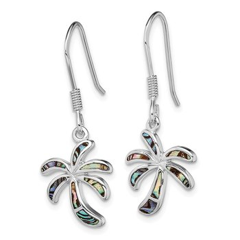 Sterling Silver Rhodium-plated Abalone Palm Tree Earrings