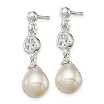 Sterling Silver Polished Freshwater Cultured Pearl &CZ Post Dangle Earrings