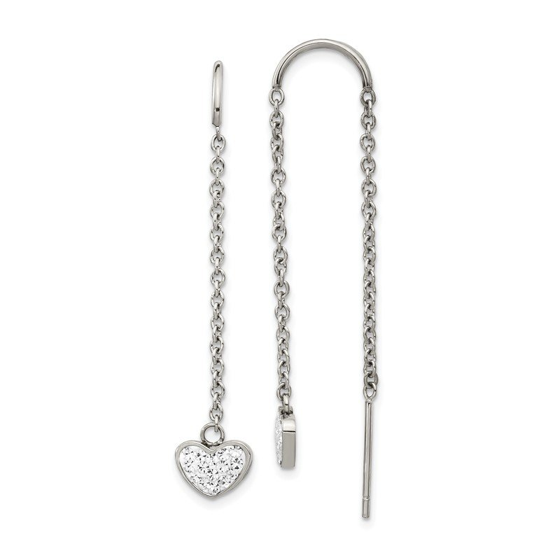 Chisel Stainless Steel Polished w/Preciosa Crystal Heart Threader Earrings