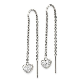Stainless Steel Polished w/Preciosa Crystal Heart Threader Earrings