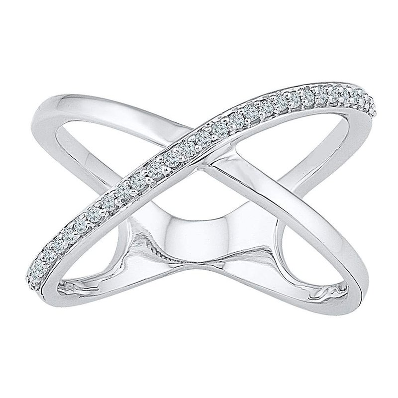 Kingdom Treasures 10kt White Gold Womens Round Diamond Open Crossover Band Ring 1/6 Cttw