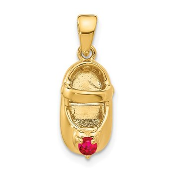 14k 3-D July/Synthetic Stone Engraveable Baby Shoe Charm