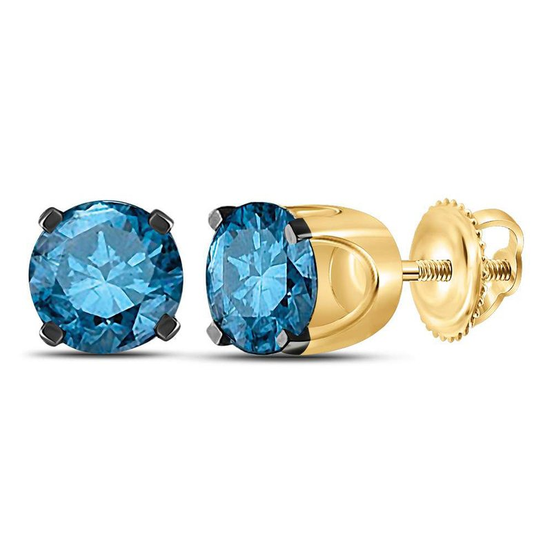 Gold-N-Diamonds, Inc. (Atlanta) 14kt Yellow Gold Womens Round Blue Color Enhanced Diamond Solitaire Earrings 1.00 Cttw