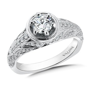 Diamond Engagement Ring Mounting in 14K White Gold (.28 ct. tw.)