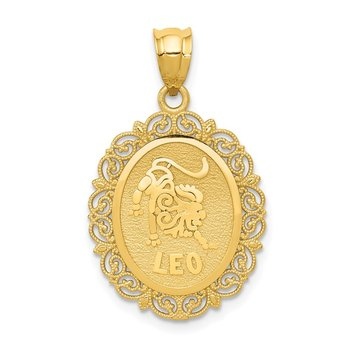 14k Solid Satin Polished Leo Zodiac Oval Pendant