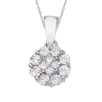 14K White Gold Diamond Clustaire Pendant (.50 carat)