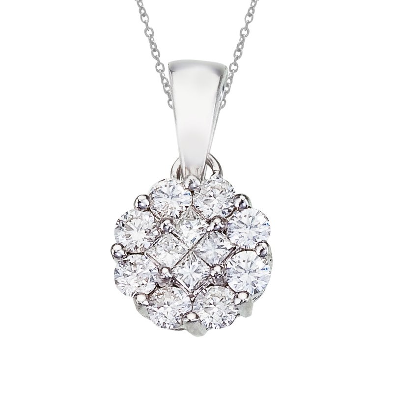 Color Merchants 14K White Gold Diamond Clustaire Pendant (.50 carat)