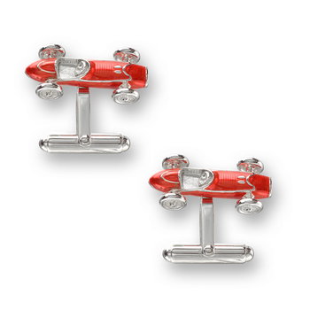 Sterling Silver Racecar T-Bar Cufflinks-Red.