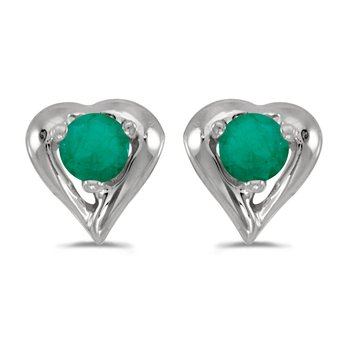 14k White Gold Round Emerald Heart Earrings