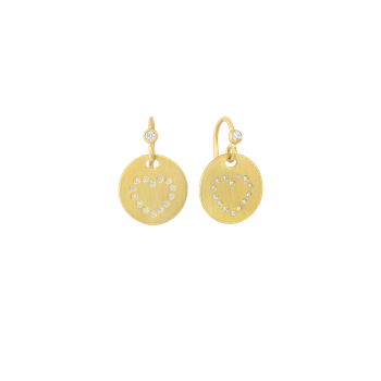 18KT GOLD MEDALLION HEART EARRINGS WITH DIAMONDS