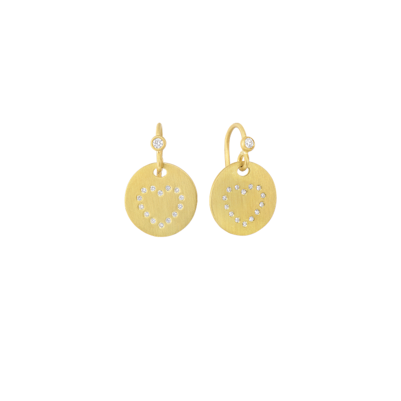Roberto Coin 18Kt Gold Medallion Heart Earrings With Diamonds