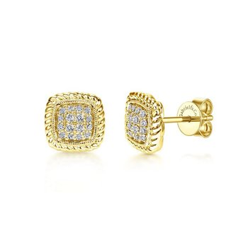 14K Yellow Gold Twisted Cluster Diamond Stud Earrings
