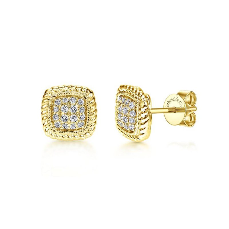 Gabriel Fashion 14K Yellow Gold Twisted Cluster Diamond Stud Earrings