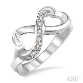 silver infinity heart shape diamond ring