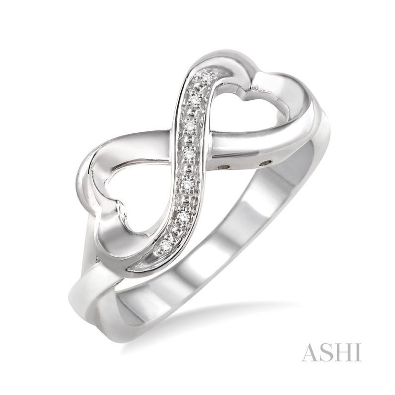 ASHI silver infinity heart shape diamond ring