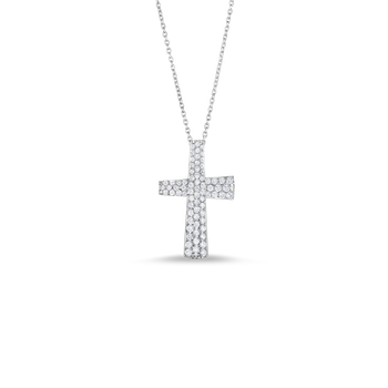 18Kt Gold Small Cross Pendant With Diamonds