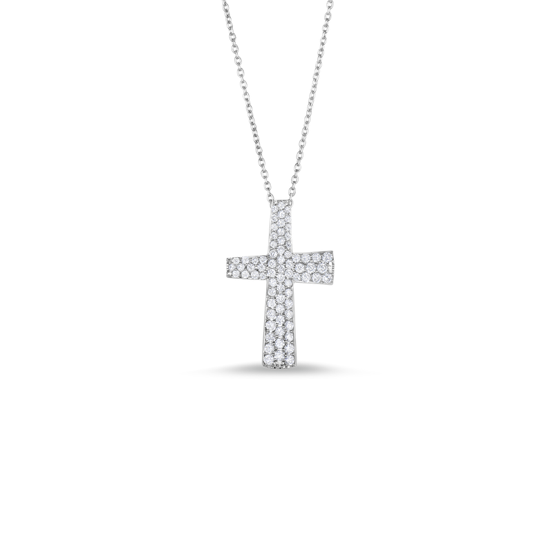 Roberto Coin 18Kt Gold Small Cross Pendant With Diamonds