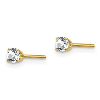 14k 3mm April/ White Topaz Post Earrings