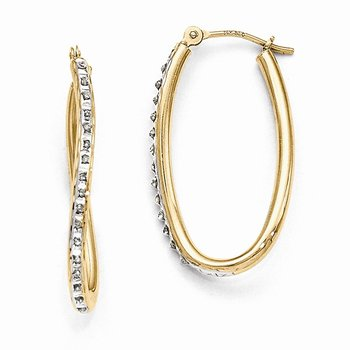 14k Diamond Fascination Oval Twist Hoop Earrings
