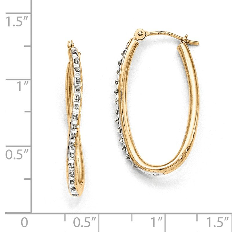 Quality Gold 14k Diamond Fascination Oval Twist Hoop Earrings