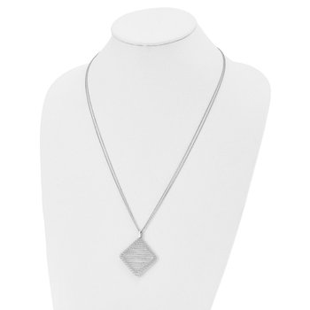 Leslie's Sterling Silver Rhodium-plated CZ Necklace