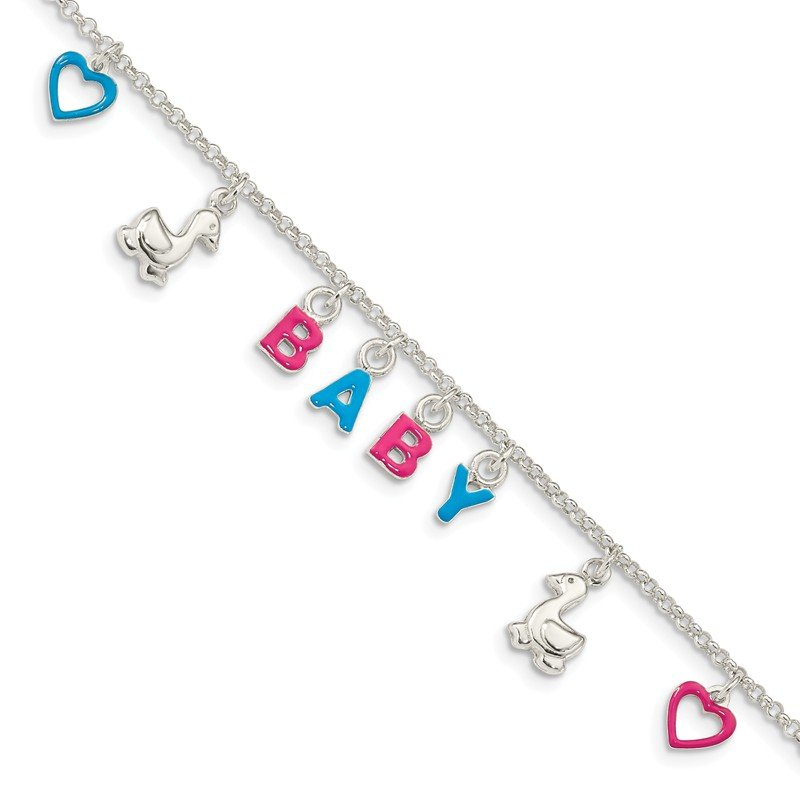 Quality Gold Sterling Silver Adjustable Enameled Baby Charm Bracelet