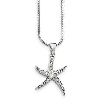 Sterling Silver Brilliant Embers Rhodium-plated CZ Starfish Necklace
