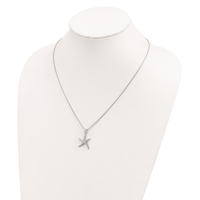 Quality Gold Sterling Silver & CZ Brilliant Embers Starfish Necklace