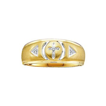 Yellow-tone Sterling Silver Mens Round Diamond Cross Wedding Band Ring 1/20 Cttw