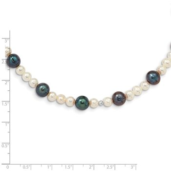 14K WG White & Peacock Semi-round Freshwater Cultured Mirror Bead Necklace